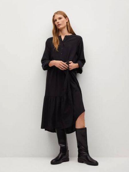 Расклешенное с рукавами черное платье миди Mango