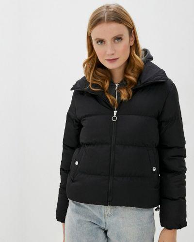 Теплая черная утепленная куртка Defacto