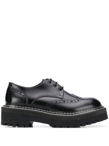 Czarny buty brogsy z prawdziwej skóry na sznurowadłach okrągły nos Karl Lagerfeld