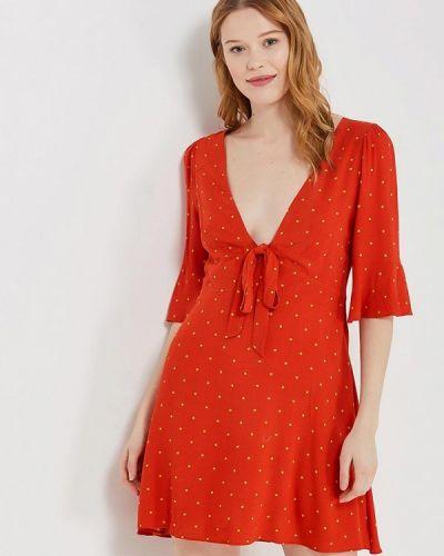 Красное платье с длинными рукавами Free People