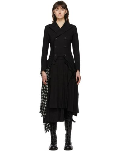 Черное длинное пальто с воротником из альпаки двубортное Yohji Yamamoto