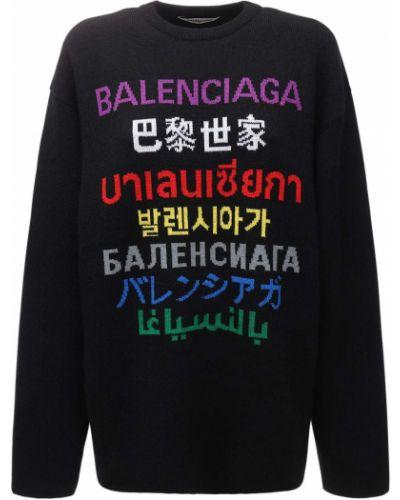 Wełniany czarny sweter Balenciaga