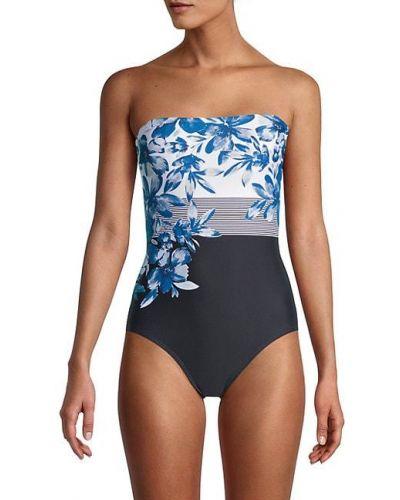 Синий купальник бандо в полоску на бретелях Calvin Klein