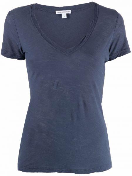 Синяя прямая футболка с короткими рукавами с V-образным вырезом James Perse