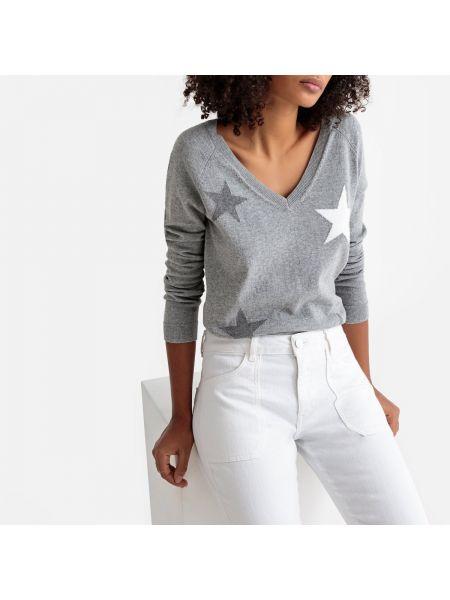 Серый хлопковый пуловер с V-образным вырезом с рисунком Sud Express
