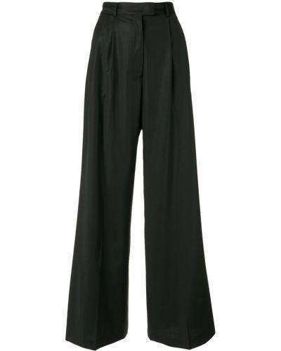 Черные деловые расклешенные свободные брюки с поясом Paul & Joe