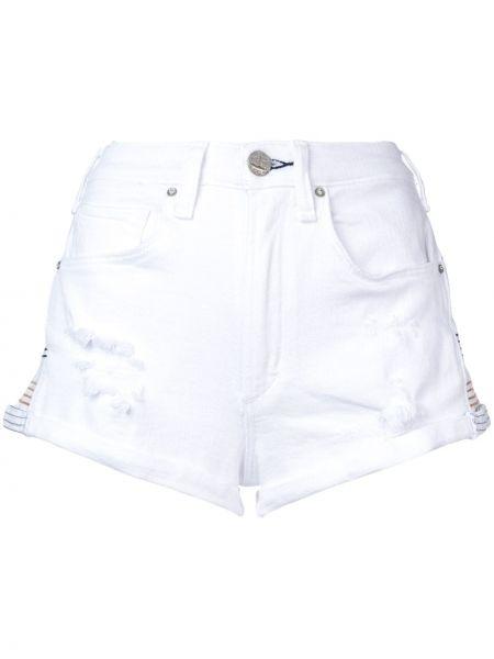 Хлопковые белые джинсовые шорты с карманами на молнии Mcguire Denim