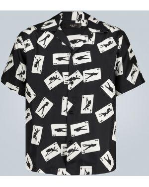 Koszula krótkie z krótkim rękawem jedwab z nadrukiem Amiri