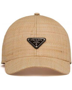 Beżowa czapka Prada