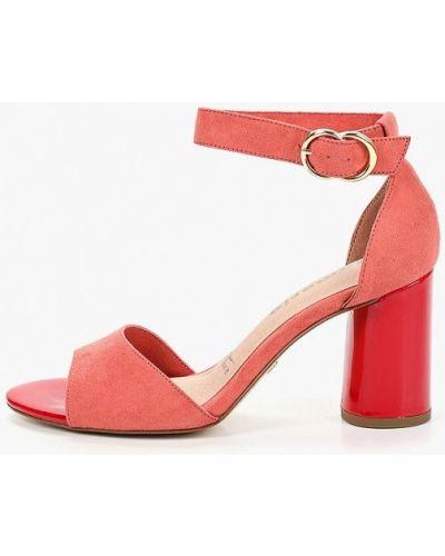 Босоножки на каблуке розовый Tamaris