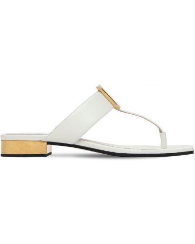 Кожаные белые стринги на каблуке Balmain
