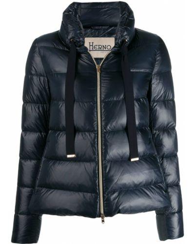 Длинная куртка из альпаки синий Herno