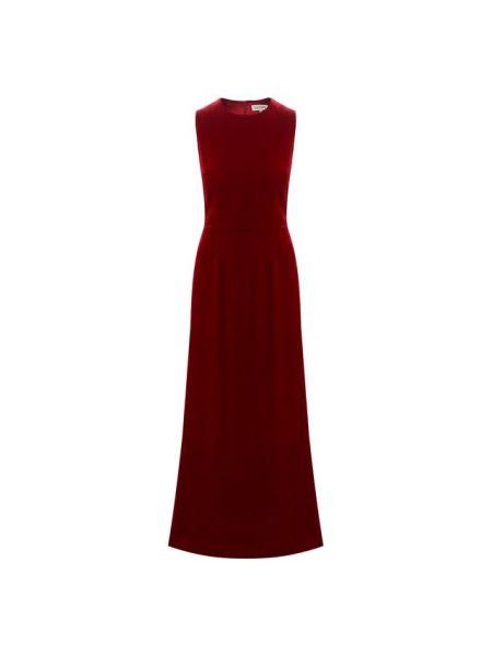 Красное приталенное шелковое вечернее платье без рукавов A La Russe