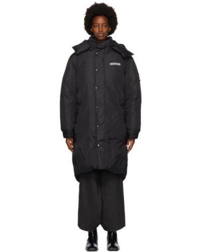 Skórzany czarny płaszcz z kapturem z kołnierzem z kieszeniami Ader Error