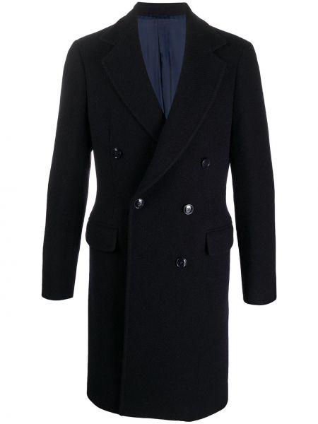 Niebieski długi płaszcz wełniany z długimi rękawami Mp Massimo Piombo