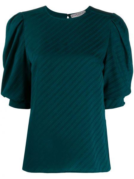 Bluzka z krótkim rękawem jedwabna o prostym kroju Givenchy