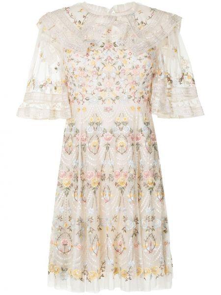 Нейлоновое платье мини с вышивкой с короткими рукавами Needle & Thread