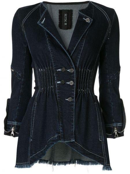 Синяя джинсовая куртка с манжетами на молнии с поясом Kitx