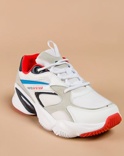 Брендовые текстильные белые кроссовки Baas