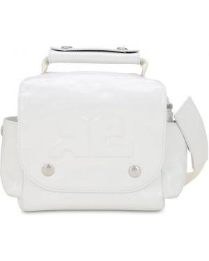 Biała torba podróżna skórzana Courreges