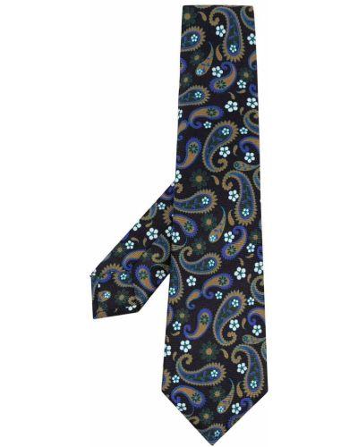 Черный галстук пейсли Kiton