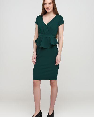 Зеленое платье без рукавов с оборками City Goddess