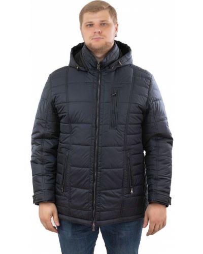 Кожаная куртка с капюшоном - синяя Eterno