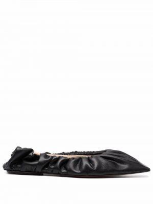 Балетки с квадратным носком - черные Nanushka