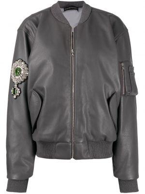 Кожаная куртка на молнии - серая David Koma