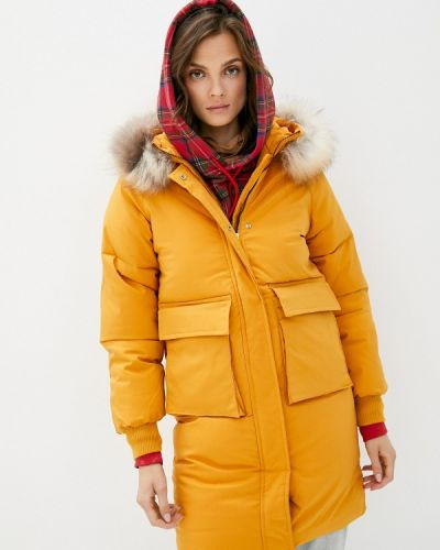 Теплая желтая зимняя куртка Liana