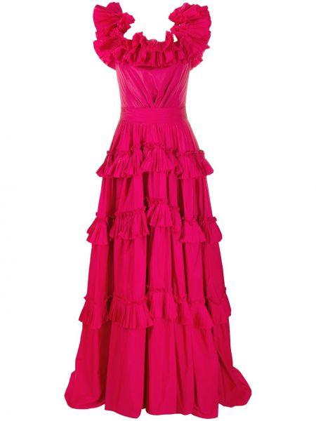 Розовое платье макси без рукавов квадратное Zuhair Murad