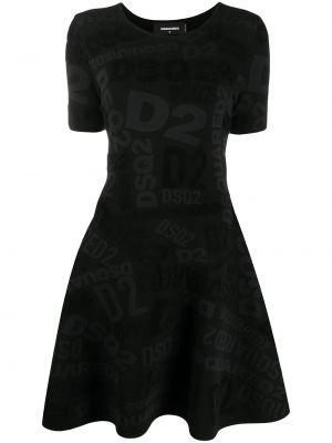 Трикотажное вязаное черное платье мини Dsquared2