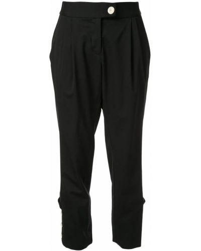 Черные укороченные брюки стрейч с манжетами Kitx