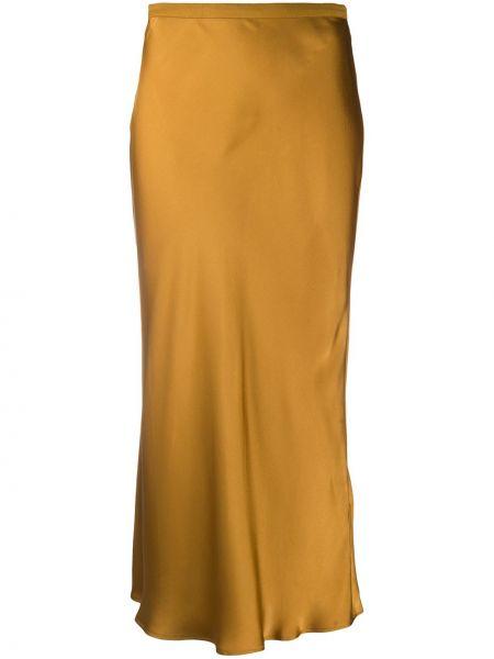 Шелковая желтая с завышенной талией юбка миди с поясом Anine Bing
