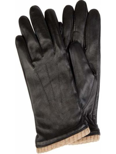 Prążkowane czarne rękawiczki skorzane Eem-fashion
