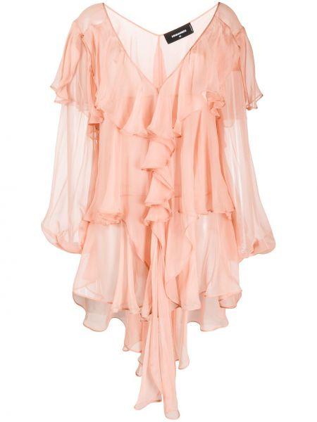 Платье мини розовое на пуговицах Dsquared2