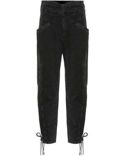 Czarny bawełna bawełna jeansy na wysokości z mankietami Isabel Marant