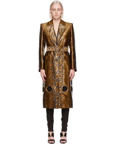 Złoty czarny długi płaszcz z paskiem Versace