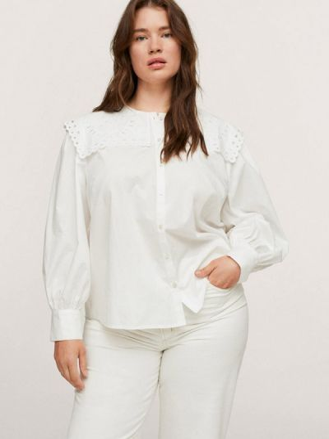Белая зимняя блузка Violeta By Mango