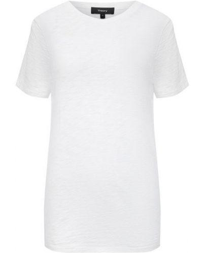Хлопковая белая футболка Theory