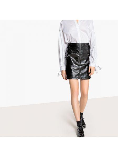 Черная прямая юбка мини с рукавом 3/4 с подкладкой La Redoute Collections