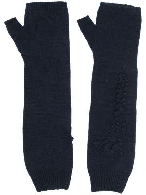 Z kaszmiru niebieskie rękawiczki bez palców z haftem Barrie