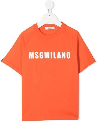 Оранжевая прямая футболка с вырезом Msgm Kids