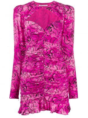 Фиолетовое шелковое плиссированное платье с рисунком Alessandra Rich