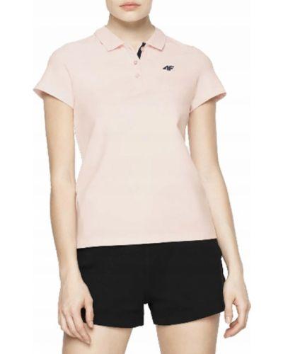 Różowy t-shirt bawełniany krótki rękaw 4f
