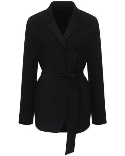 Трикотажный черный удлиненный пиджак с поясом Escada