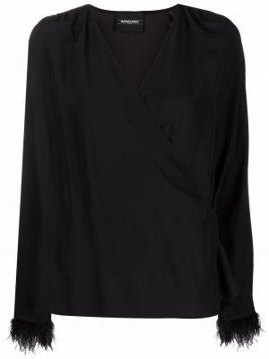 Черная блузка с перьями Simonetta Ravizza
