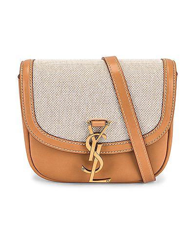 Бежевый кожаный ранец с карманами Saint Laurent