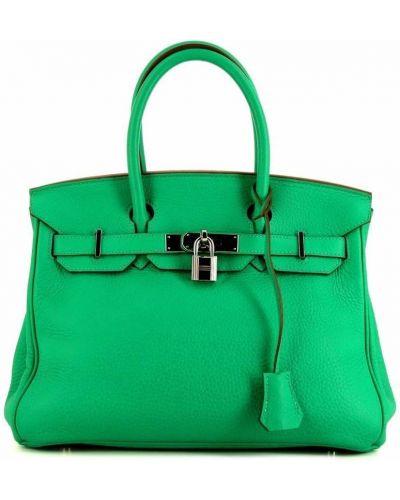 Zielona torebka skórzana Hermes