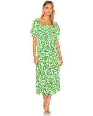 Платье миди шелковое с буфами Faithfull The Brand